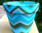 Hand painted plant pot - Zig Zag Waves - aqua blue, olive green and gray - hand painted terra cotta