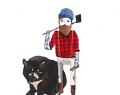 Lumberjack with Black Bear