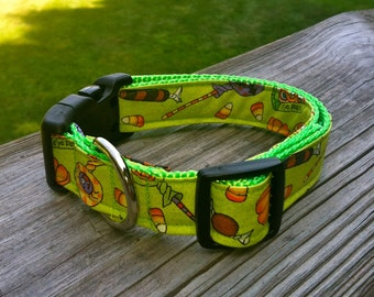 Dog Collar- Halloween Candies - Lime Green