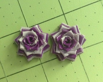 Duck Tape Swirled Rose Earrings