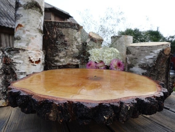 Wood cake stand rustic cake base large tree slice for Large tree trunk slices