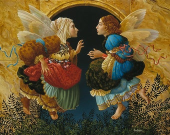 Two Angels Discussing Botticelli by James C. Christensen Beautifully Framed in Gold Wood  -- in wrapping from Framer -- No place to hang.