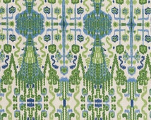 Green/Blue Ikat, Home Decor Fabric, Designer Fabric, Cotton, Upholstery Fabric, By the Yard, Home Furnishing, Home Decor