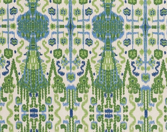 15% Off Green/Blue Ikat, Home Decor Fabric, Designer Fabric, Cotton, Upholstery Fabric, By the Yard, Home Furnishing, Home Decor