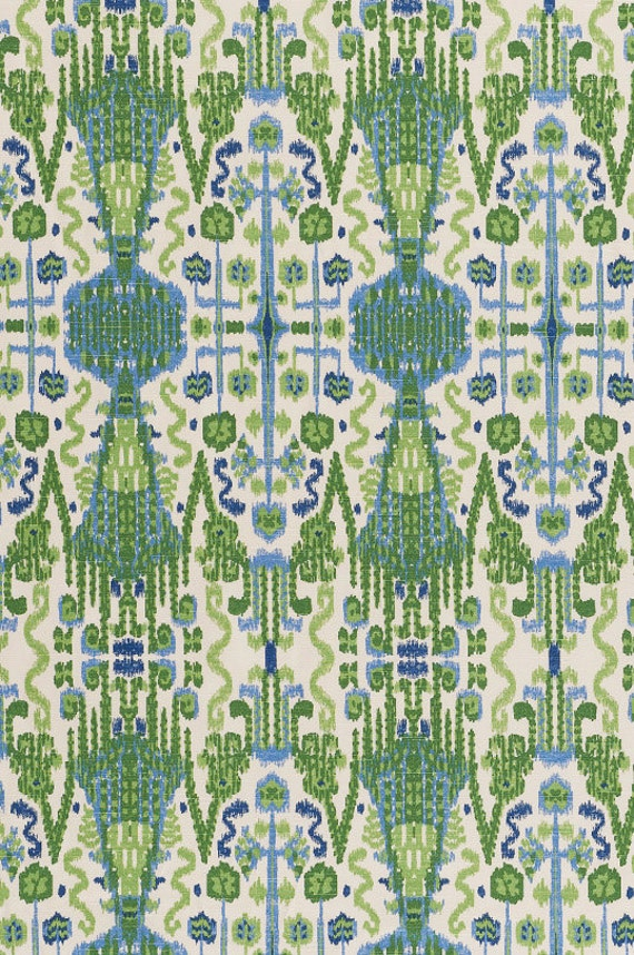 Home Decor Fabric Designer Fabric Cotton Blue Ikat By