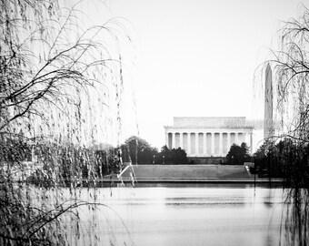 "Washington DC Art, Black and White Photography, 5x7 Print, DC Wall Decor, Lincoln Memorial, Washington Monument, Potomac - ""Morning Potomac"""