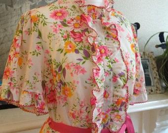 Vintage 1970s maxi lounge dress / Loungees lounge dress / floral lounge dress
