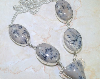 Necklace Artisan Handcrafted: Dendrite Agate Genuine Gemstone One of a Kind FABULOUS