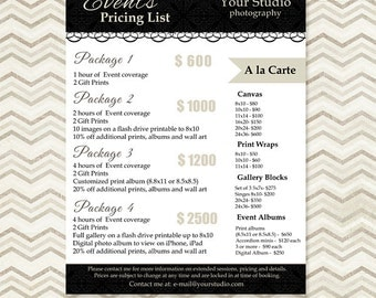 Photography Package Pricing List Template - Event Packages List - Marketing - Photoshop Template 012 - C072, INSTANT DOWNLOAD