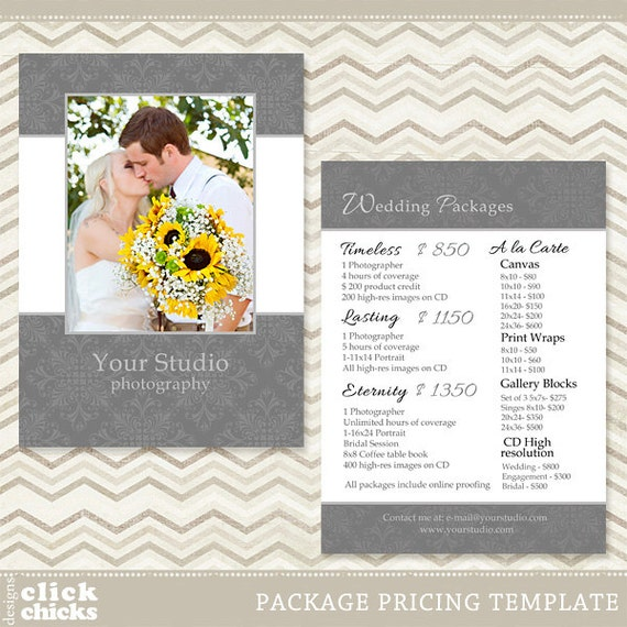 Photography Package Pricing List Template - Wedding Price List - Price ...: www.etsy.com/listing/159993271/photography-package-pricing-list