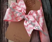Pink Chevron  Pinwheel Bow
