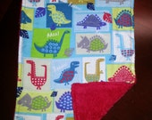 2 Dinosaur  Burp Cloths for Boys.  Unique Baby Gift.