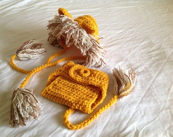 Baby Crochet Lion Hat and Diaper Cover - Golden, Brown, and  White.