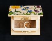 "Rustic style wedding ring bearer box with botanical picture ""Wild Flowers III"" - wedding decor, rustic style, botanical, engagement box"