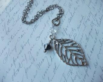 Long leaf pendant necklace with swarovski crystals
