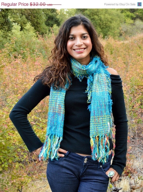 40% OFF SALE Fall Fashion: Turquoise Knit Scarf, Handwoven Scarf, Fall Scarf, Comes in a Organza Gift Bag Makes a Great Gift, Hand Knit Sca