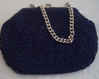 Vintage Navy Straw Bag