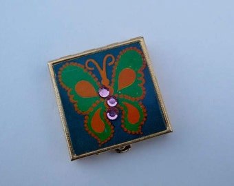 Vintage Green Butterfly Pill Box