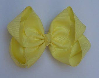 Pale Yellow Large Boutique Bow Girls Hair Bow Jumbo Hair Bow XLarge Hair Bow in Light Yellow Large Hair Bow