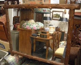 Black Forest Antique Carved Log Frame Mirror