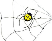 SMALL spider with net stained glass bug beetle suncatcher home decor yellow Halloween decor
