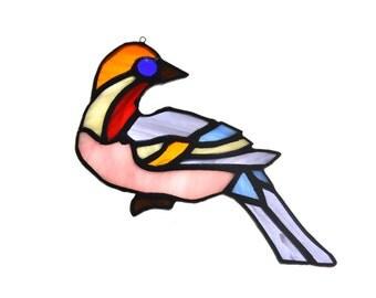 Stained glass bird dove suncatcher, window ornament, hanging home decor pink orange purple colour