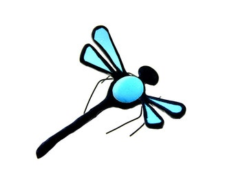 SMALL stained glass dragonfly suncatcher home decor light blue
