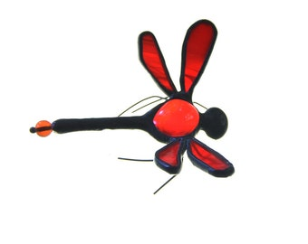 SMALL stained glass dragonfly suncatcher home decor red