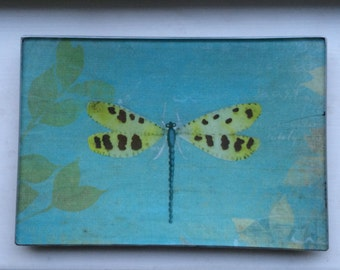"Decoupage Glass Tray ""Dragonfly"""