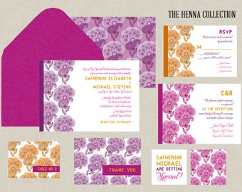 Henna Flowers Collection - Indian Wedding Invitation - An ensemble of pink, purple and orange, it has a modern vibe