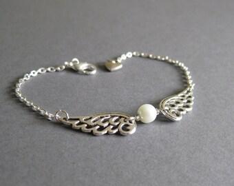 Silver Angel wing bracelet - guardian angel -  Uk seller - teen girls jewellery - wings bracelet - Stocking stuffer - Christmas gift
