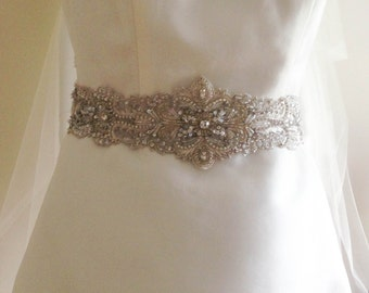 Bridal Sash Belt  - Silver 29 inches (Made to Order)