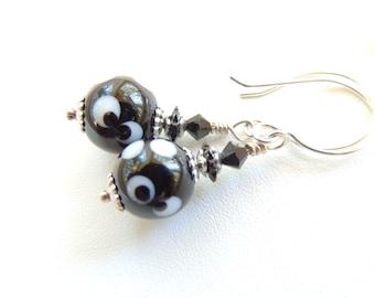 Black White Lampwork Earrings, Modern Earrings, Lampwork Beads, Lampwork Jewelry