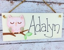 Personalized Sleeping Owl Kid's Door Sign or Bedroom Wall Decor