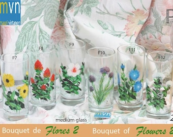 Bouquet of flowers 2, set of flower glases, hand painted flower glassware