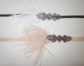 Champagne Flapper Dress Headband Silver 20s Dress Headband