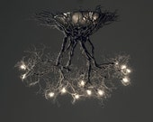 Roots ,Handmade ceiling light made of pewter wires.