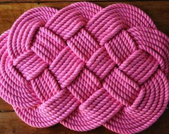 Hot Pink Cotton Rope Bath Mat - Nautical Decor - Nautical Rope Rug - (29 x 17)