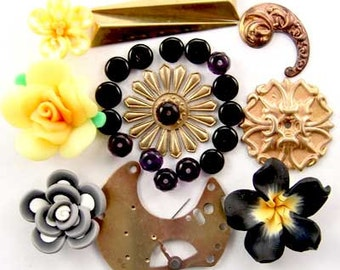 Pocket Watch Platene, Brass, Fimo Flower, Pearl, Onyx, Garnet Enchanted Flower Garden Bead Set16936