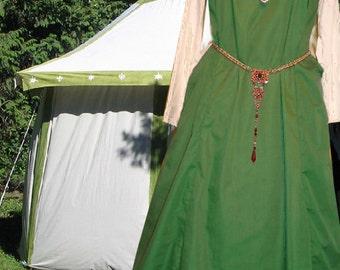 FREE SHIP Renaissance Medieval Costume Gown SCA Garb GreenWht Sideless Surcote 2 pc Set lxl