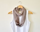 Skulls Circle Scarf, Light Brown Skulls Patterned Infinity Scarf, Lightweight Scarf , Feminine, For Girls Halloween - designscope