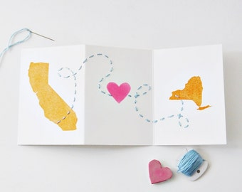 Long Distance Relationship Valentine's Day, Love, Anniversary Card / States, Map / Custom Location / Charitable Donation