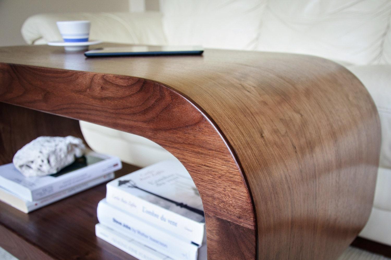 Wood Coffee Table / Accent Coffee Table / Accent Table / Console / TV Stand  / Bench   Walnut IShape Bold Coffee Table