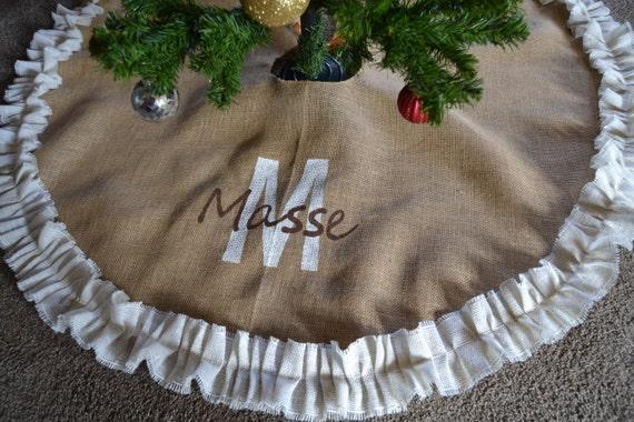 Christmas Tree Skirt Burlap Tree Skirt Monogrammed Tree