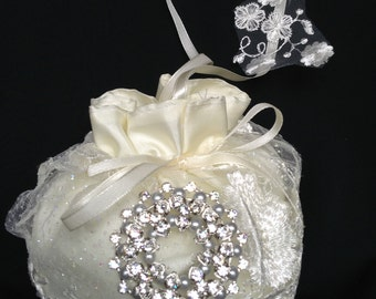 Wedding Money Purse, Lace Bridal Bag, Ivory or White Satin/Lace Wedding Purse, Pearls and Rhinestones