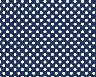 Navy Small Dots Fat Quarter Riley Blake Polka Dots Cotton Fabric