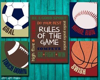 Sports Decor - Sports Nursery - Boy Room Decor - Rules of the Game Sign - Football, Baseball, Basketball, Soccer Signs - Kids Sports Decor