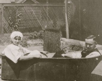 Bath Time - 1920's Couple Poses In A Bath Tub Snapshot Photo - Free Shipping