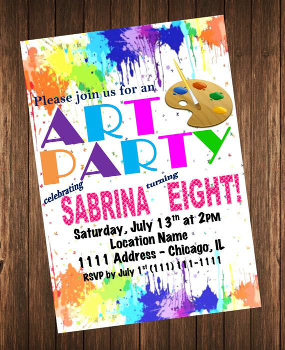 art party invitation rainbow paint splatter birthday party invite