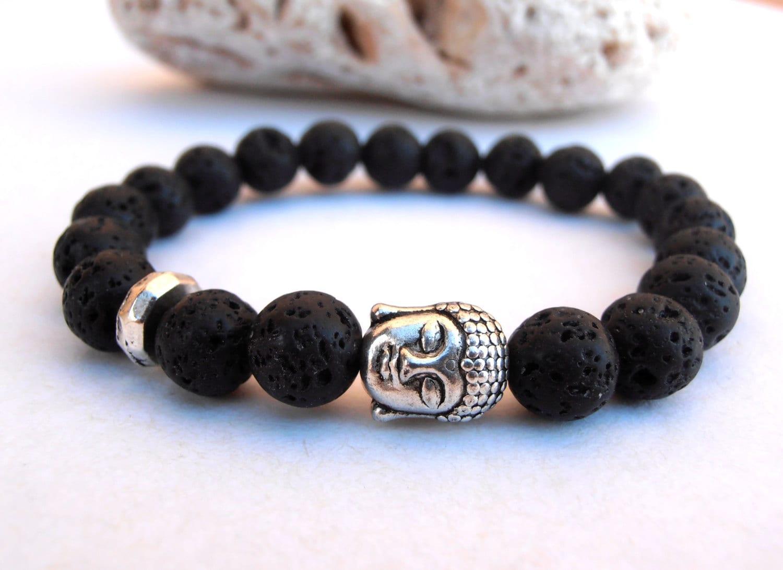 Men Buddha Lava Bracelet Lava Stone Bracelet Meditation